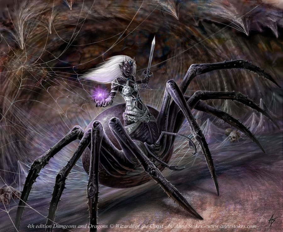 picture of a drider which is a creature with the body of a drow and the bottom-half of a giant spider
