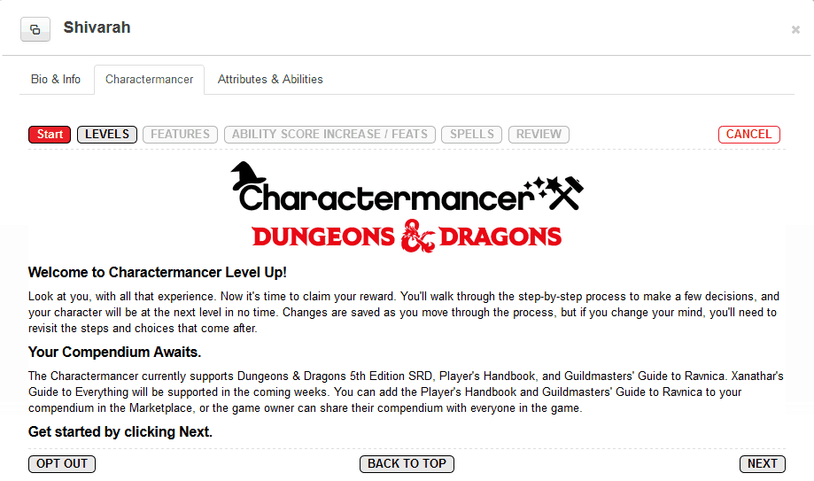 charactermancer level up welcome screen
