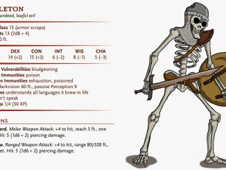 Skeleton statblock with art