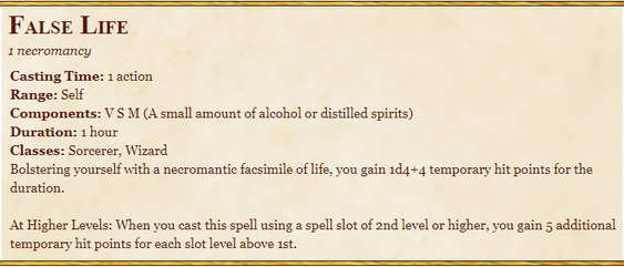 False Life Spell Description