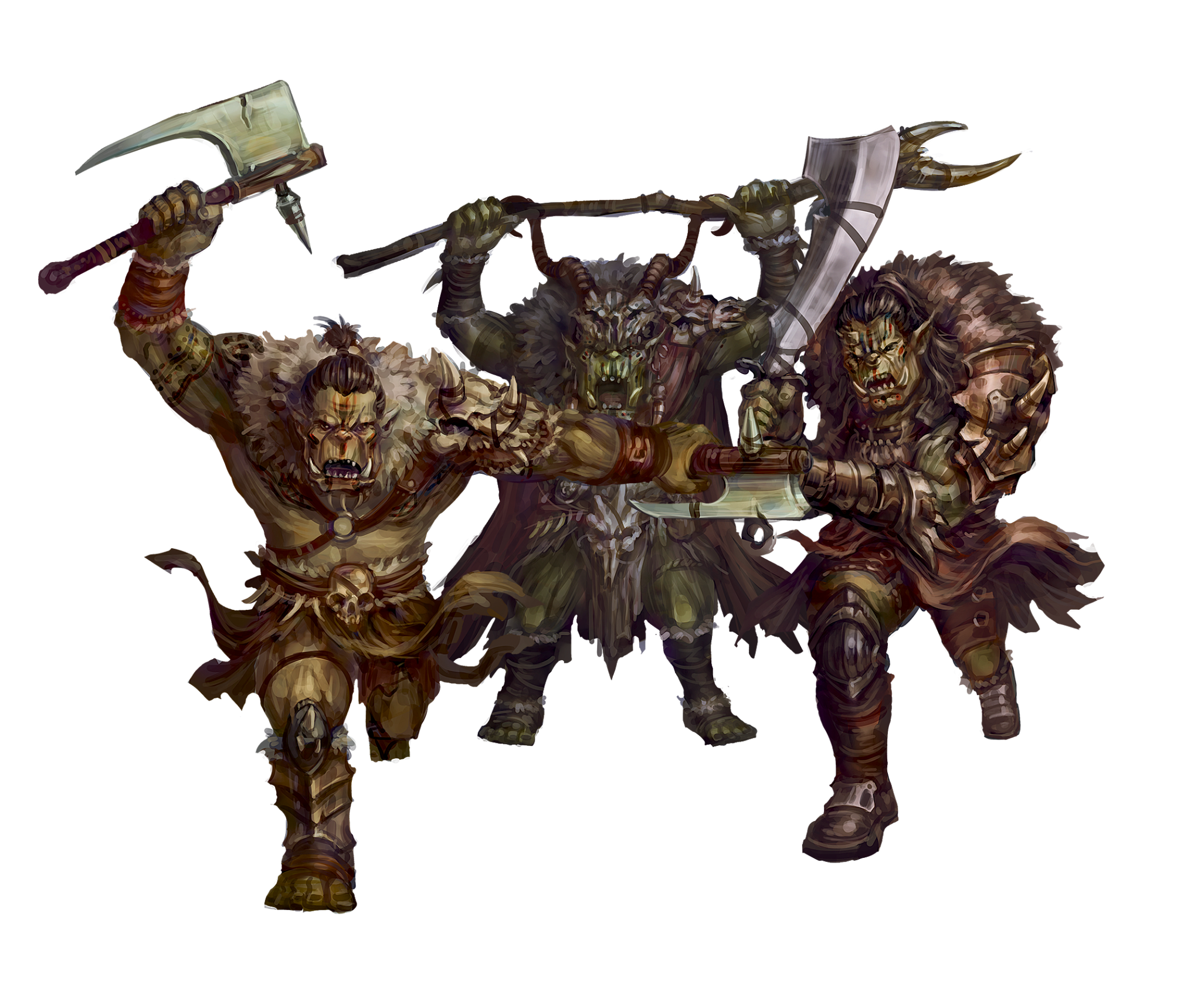 three orcs with weapons drawn