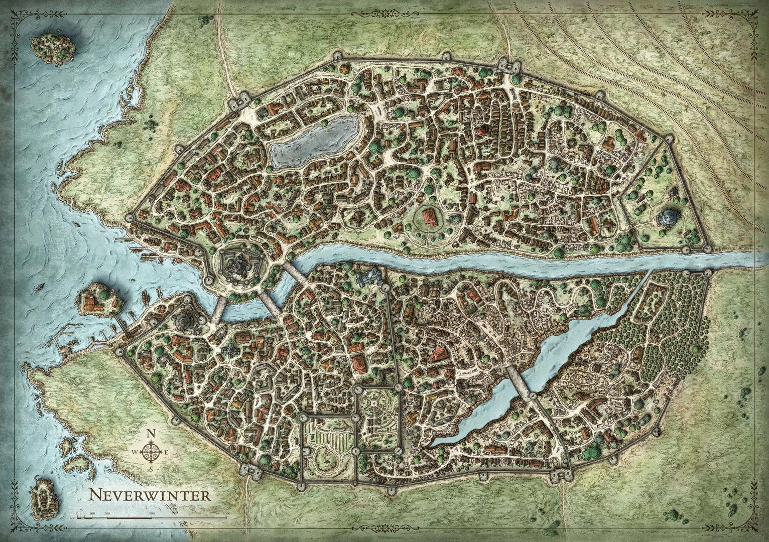 map of the city of Neverwitner