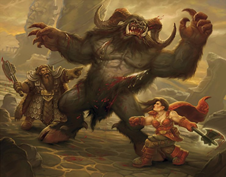 two adventurers fighting a yeti-like creature