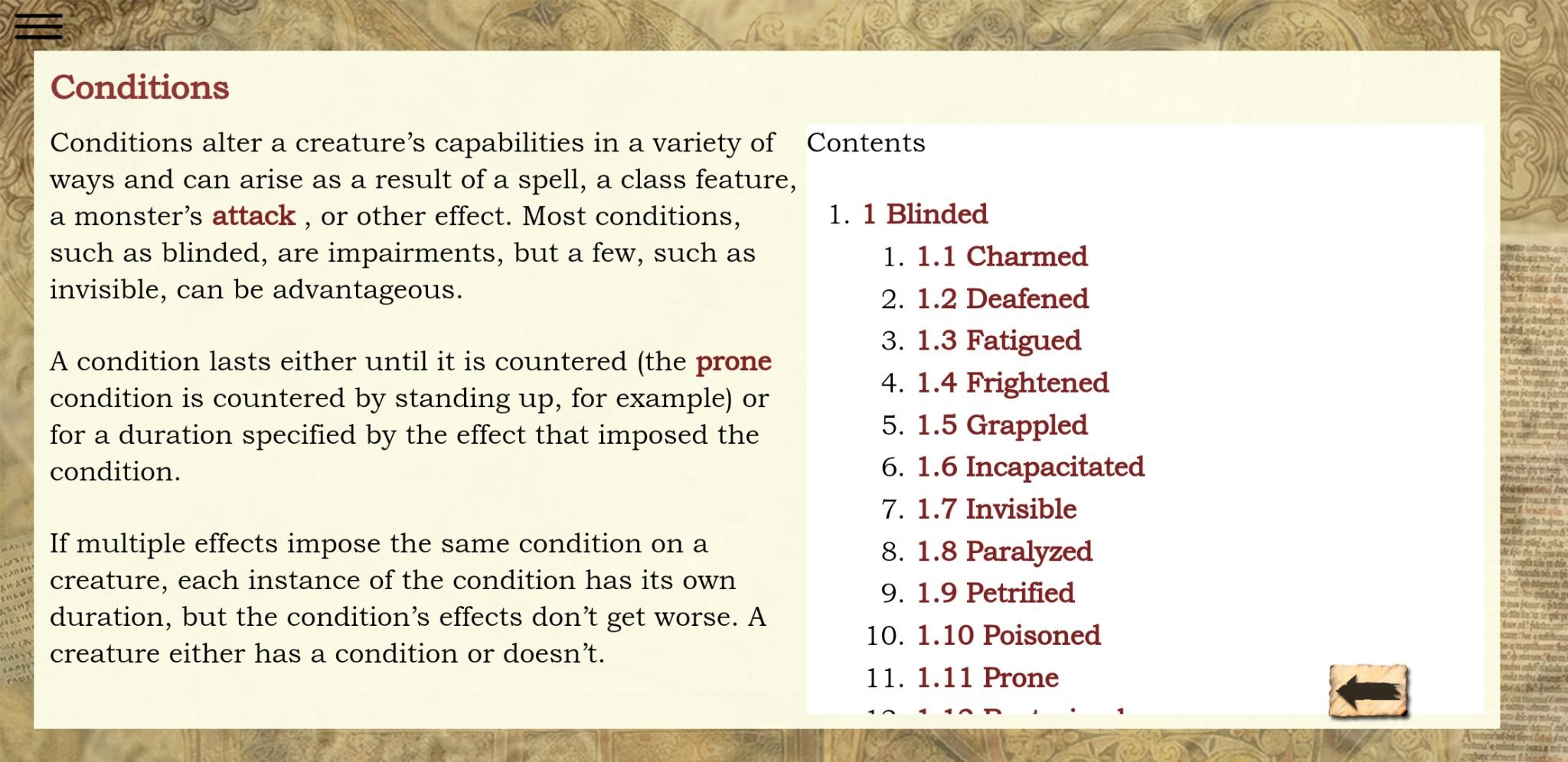 5e SRD conditions menu