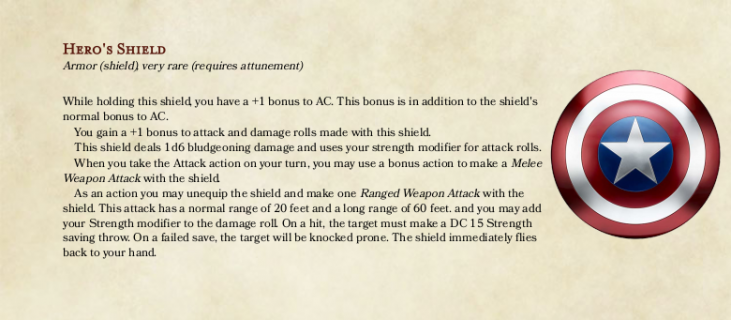 D&D 5e Homebrew: Hero's Shield - Dungeon Solvers