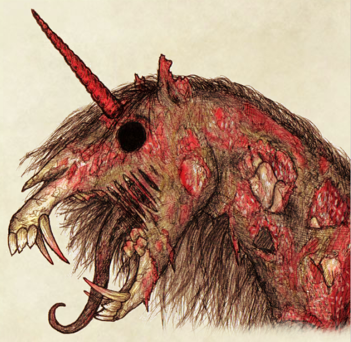 artwork of a decomposing unicorn