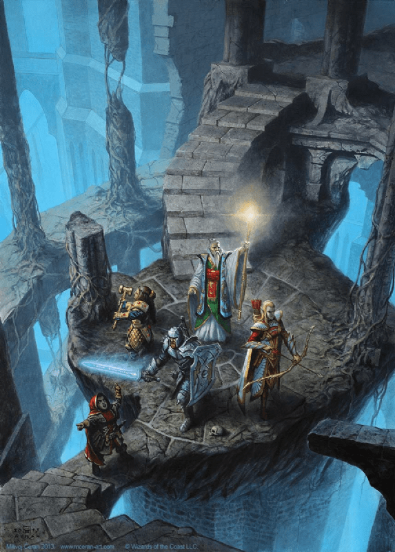 Party exploring an open dungeon.