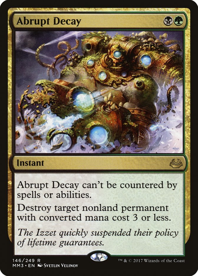 the card abrupt decay from magic the gathering which features a nivix cyclops about to be blown up by its failing equipment