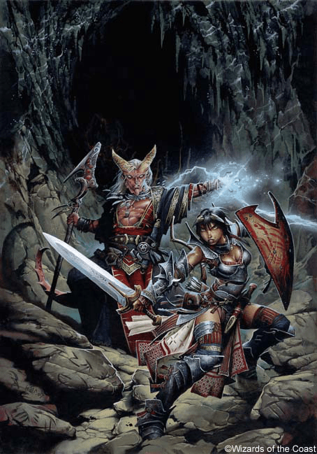 two adventurers preparing for battle in a dungeon