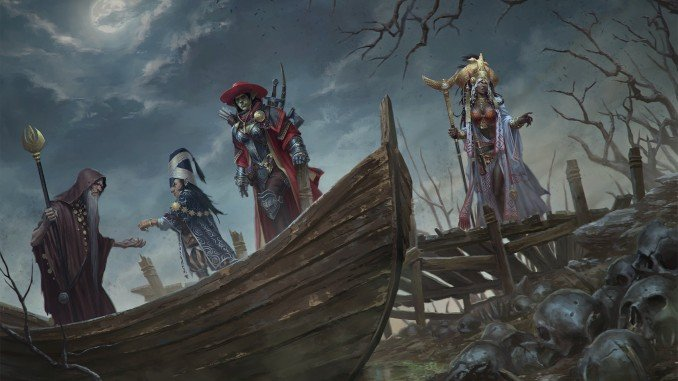 an adventuring party boarding a spooky row boat