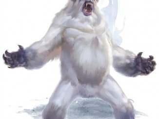 a huge white yeti with curled horns standing in a power pose from the 5e monster manual