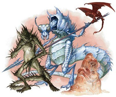 The ice devil artwork from D&D 3.5e. It's pictured alongside other devils.
