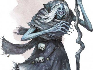 a hag with light-blue skin and a warped gray staff and gray cloak