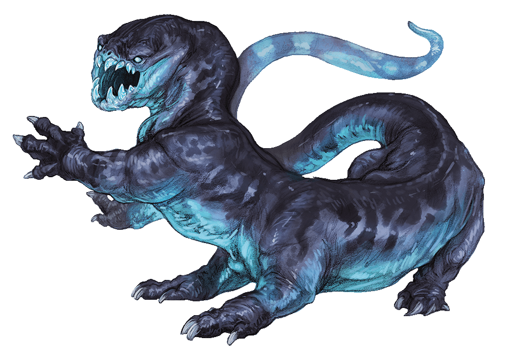 frost salamander artwork from the Monster Manual. It's a large, blue, 6-legged lizard creature.
