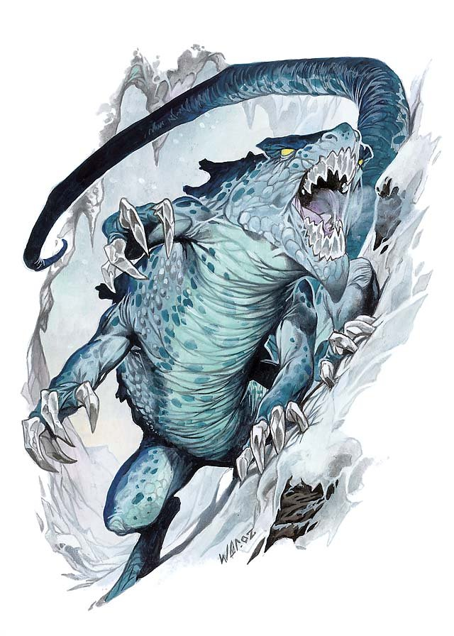 The 3e artwork of the frost salamander which looks more like a frost alligator to be honest