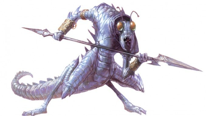 ice devil from the 5e monster manual. It looks like a blue-ish praying mantis with hands and a spear