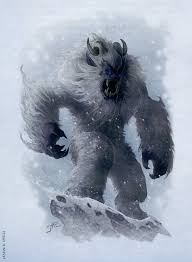 Scary looking yeti with enormous arms and bared fangs in the middle of a blizzard