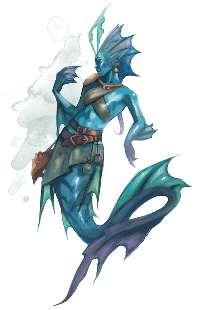 A picture of a regular merfolk. Their humanoid top halves are considerably different from the merrow's, though both creatures' bottom halves are very similar.