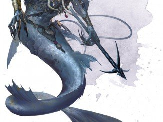 the merrow from the monster manual which is essentially a demonic merfolk. They have demonic-fishlike top-halves instead of more humanoid ones and carry a large harpoon with a chain affixed to it.