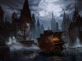 a ghostly town center with a broken-down carriage next to a stone fountain. Ghosts appear to be rising from the fountain and there is a full-moon in the distance.