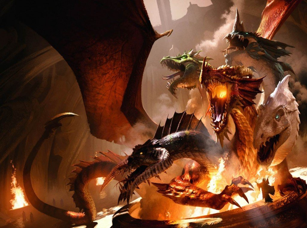 tiamat artwork from the Tyranny of dragons books. It features Tiamat rising from a hole and destroying the building