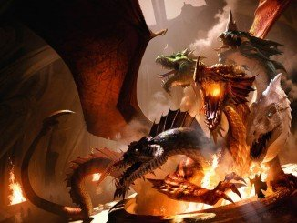 tiamat artwork from the Tyranny of dragons books. It features tiamat engaging in battle against an adventurer
