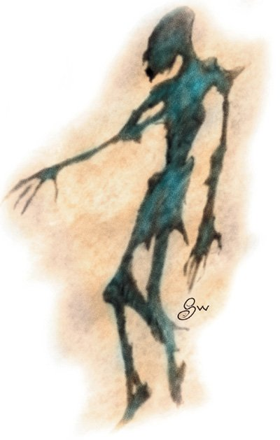A weird looking shadow that is definitely not anatomically correct. It has long spindly appendages and an enormous head