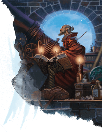 A wizard in an observatory looking into the sky with a huge telescope. He's got a book next to him that is open