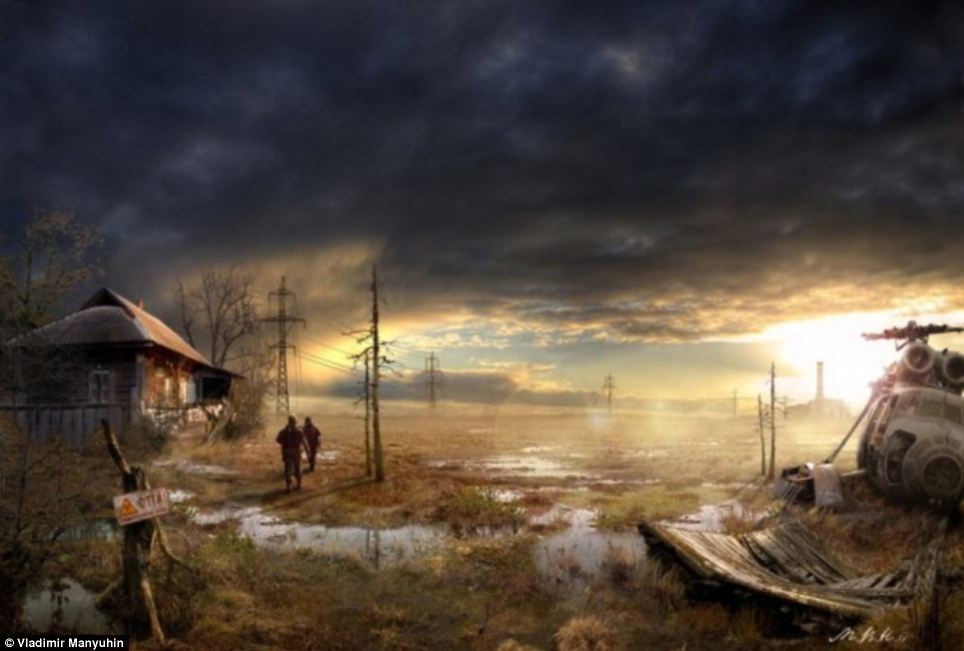 Post apocalyptic scene with a broken-donw house and three people standing in front of it. There is a broken helicopter laying a few yards next to the group