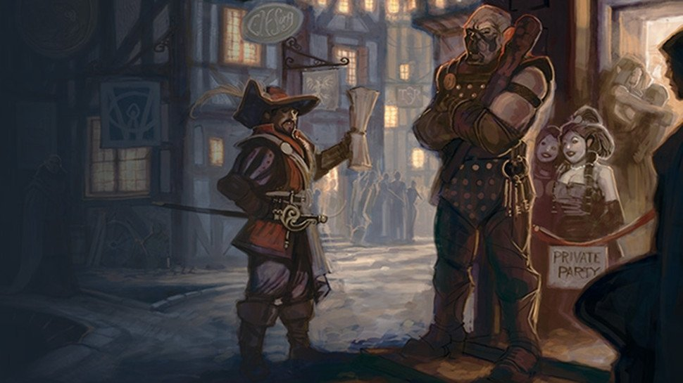 one of the three musketeers (the person not the candy) trying to talk their way into a crowded bar with a bouncer blocking the entrance