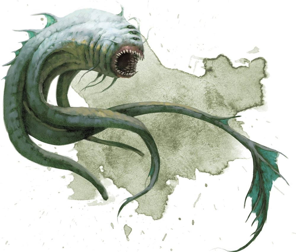 aboleth from the Monster Manual. It's a short-bodied fish-like creature with four tentacles it uses to propel itself in the water. It has a huge, gaping mouth full of teeth