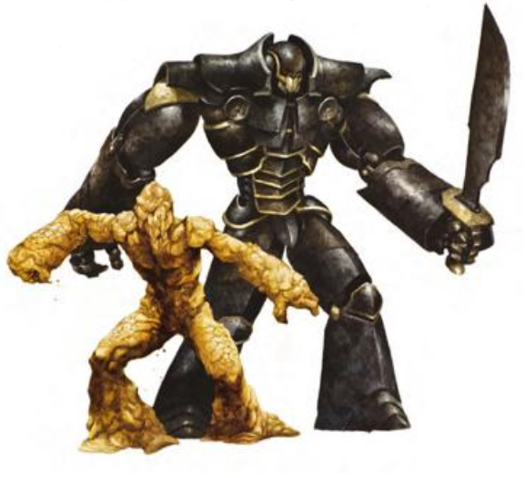 A tiny clay golem standing in front of an enormous iron golem with a large scimitar