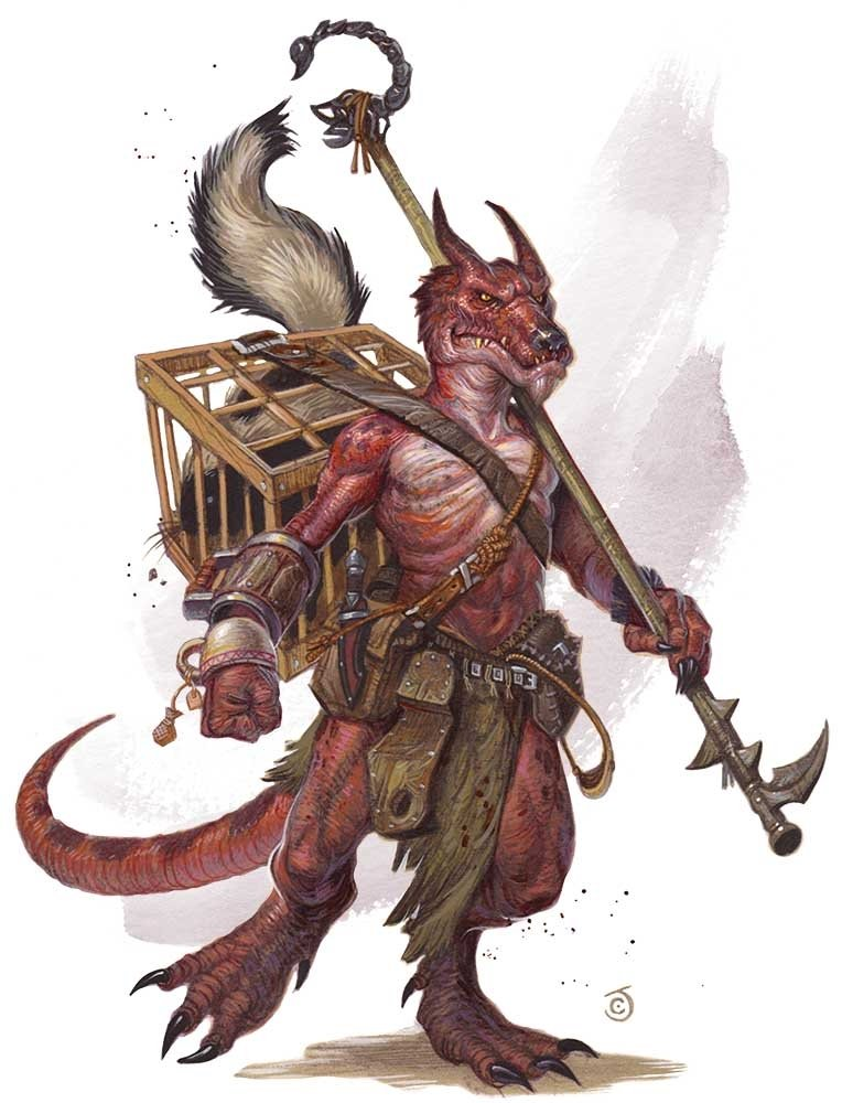 A red kobold with a long hooked spear. They're carrying a woodenc age on their back with a skunk inside of it