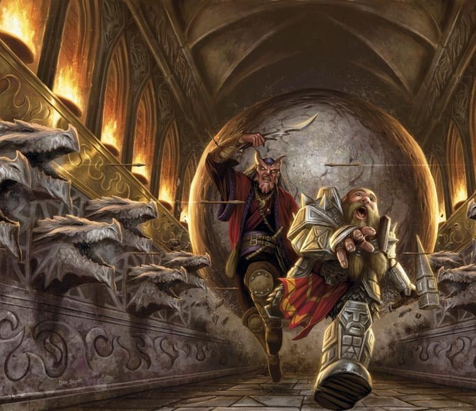 A tiefling and a dwarf running for their lives down a hallway from an enormous stone ball