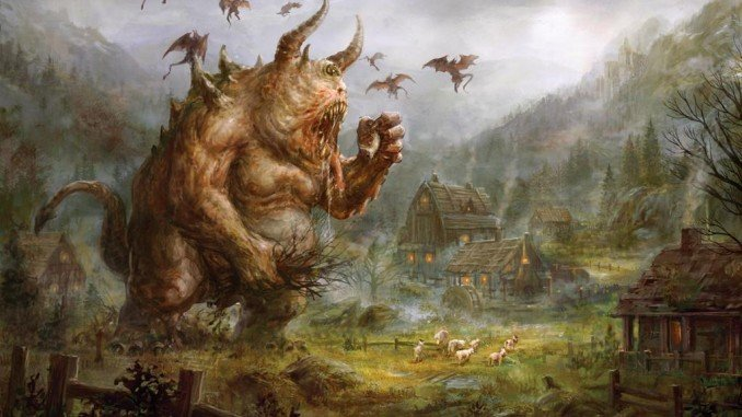 Enormous demon with bull-like horns towers over a small house feasting on its livestock.
