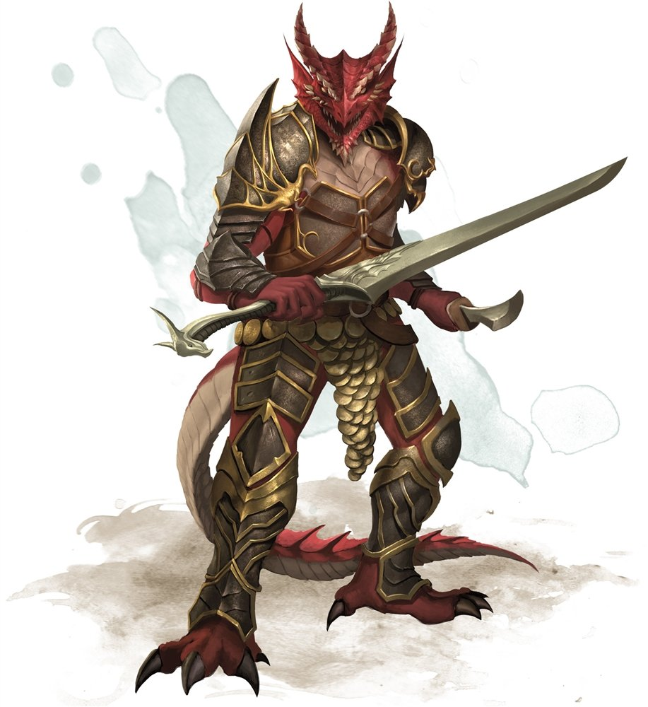 A half-red dragon in full plate armor wielding a longsword and shortsword
