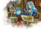 an female high-elf wizard with blue hair casting a ritual spell in their laboratory. their brown owl familiar is watching from afar