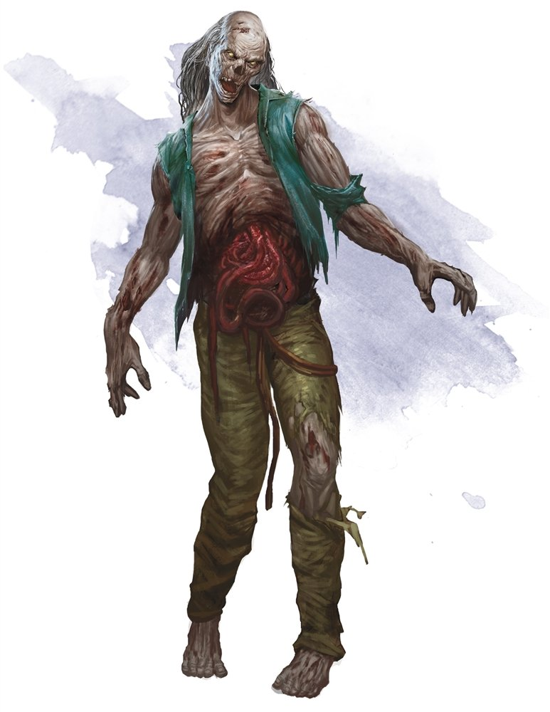 a pale-skinned male zombie with his intestines pouring out of him as he stumbles forward