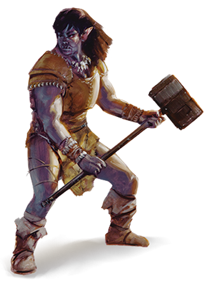 A gray half-orc woman weidling a great maul