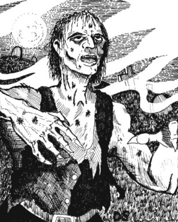 an old black and white picture of a zombie with decaying skin wearing a white shirt and black vest