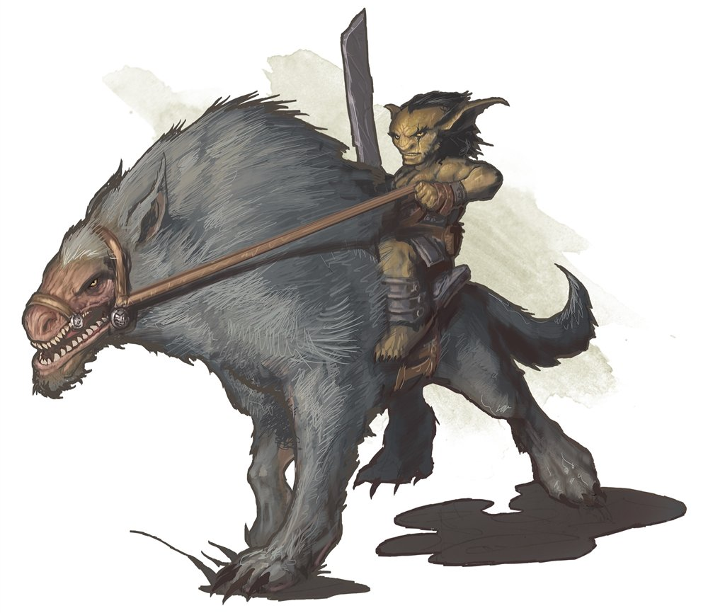 a goblin with a cleaver riding atop a large grey worg with a pale, furless face.
