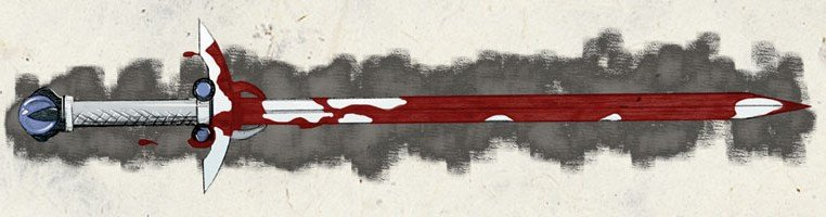 a white longsword with a blue sphere at the bottom of the hilt. The blade is covered in blood
