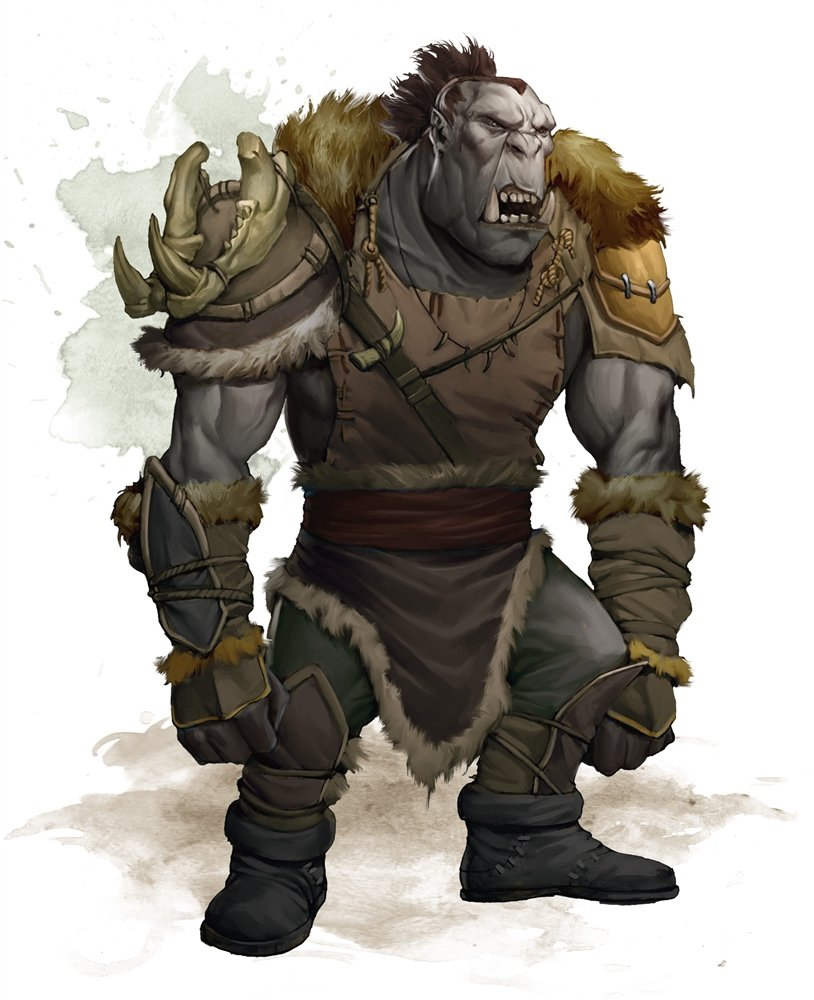 a gray orc wearing a combination of animal skins and leather armor