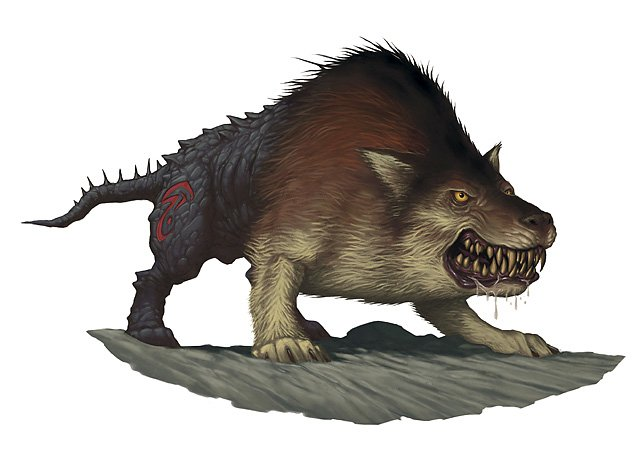 a fat wolf-like creature with some weird blackend stone hindquarters with a red symbol