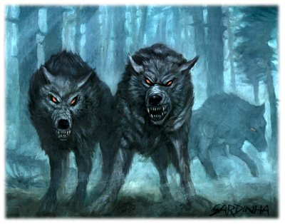 worgs from 3.5e, they look like big wolves