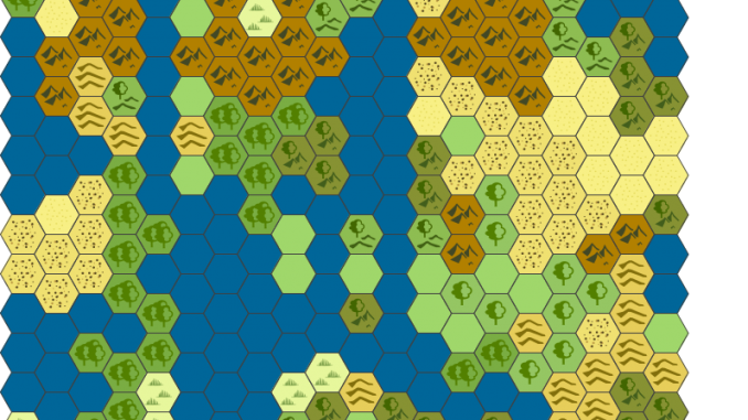 A small hexmap of a mountainous/desert region with a large cluster of lakes in the center of it