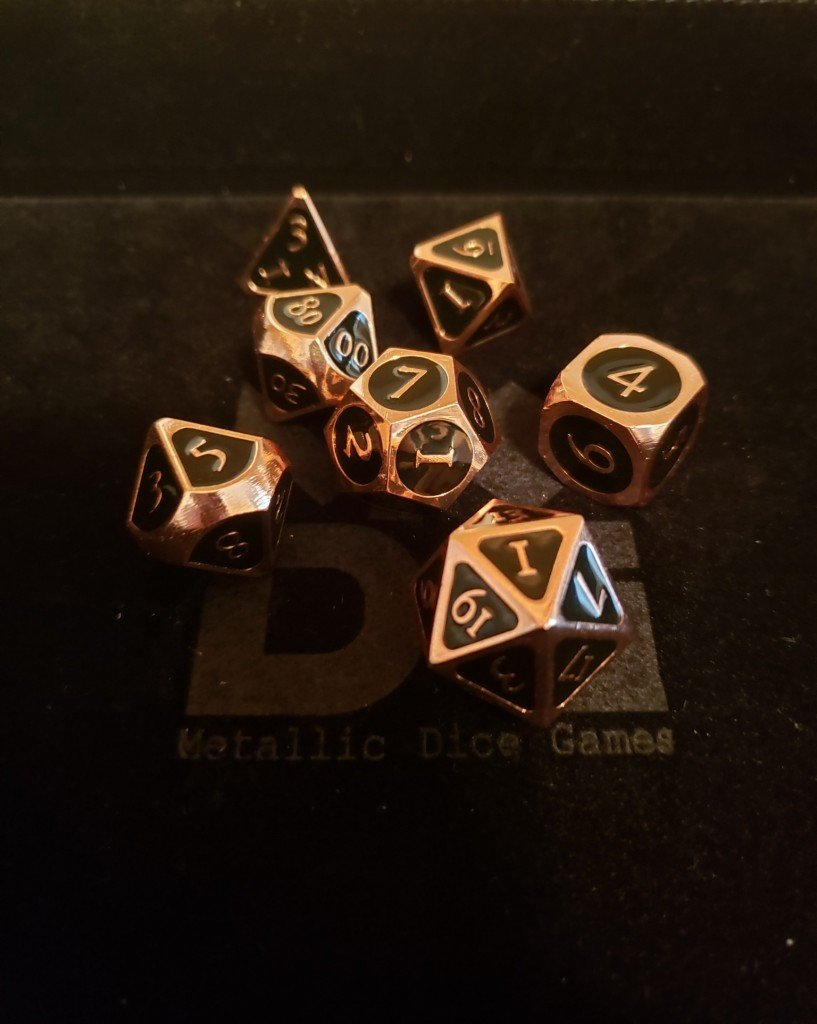black metal dice. The numbers and accents are copper.