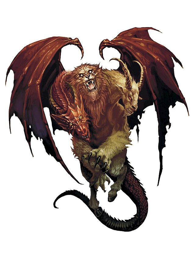 the 4e chimera artwork. The eyes of each head look lifeless and demonic