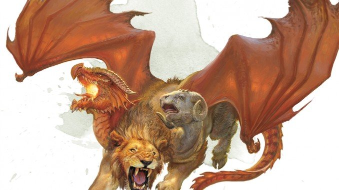 5e chimera artwork. A creature with the head and wings of a red dragon, head and claws of a lion, and head of a ram