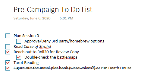 An example of a campaign to do list using OneNote. Each item has sub-tasks and checkboxes for when they're completed